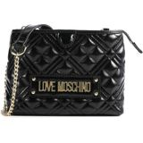 Love Moschino New Shiny Quilted Crossbody tas zwart